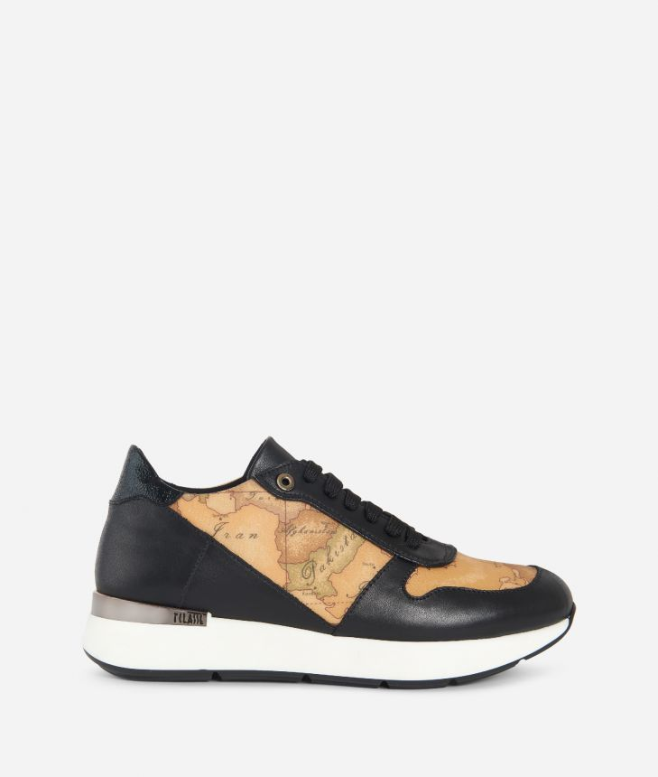 Leather and Geo Classic running sneakers Black,front