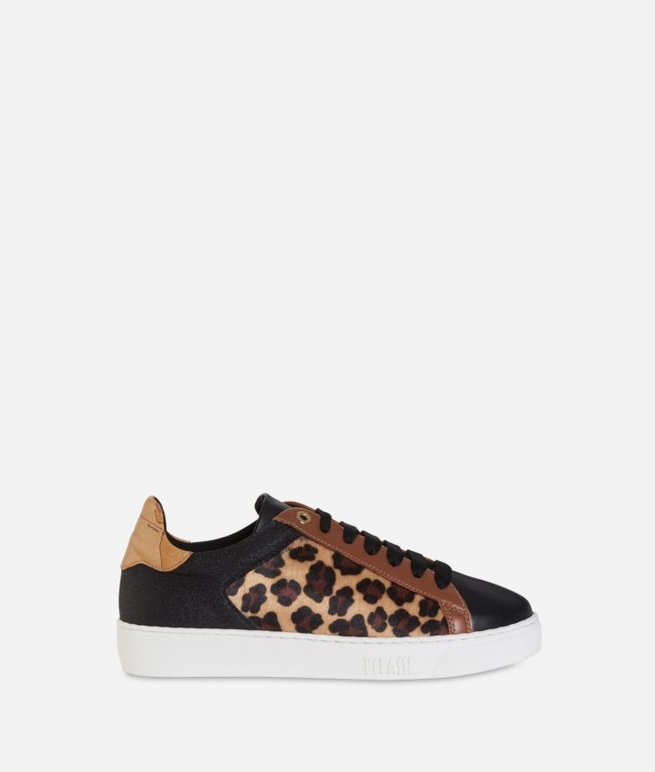 Leather and animalier print sneakers Black,front