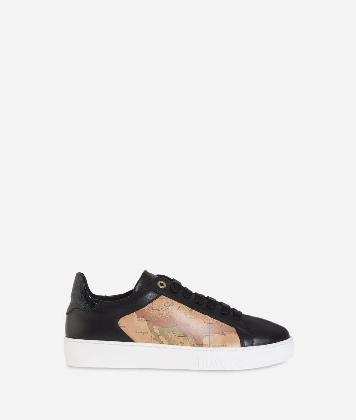 Geo Classic print and leather sneakers Black,front