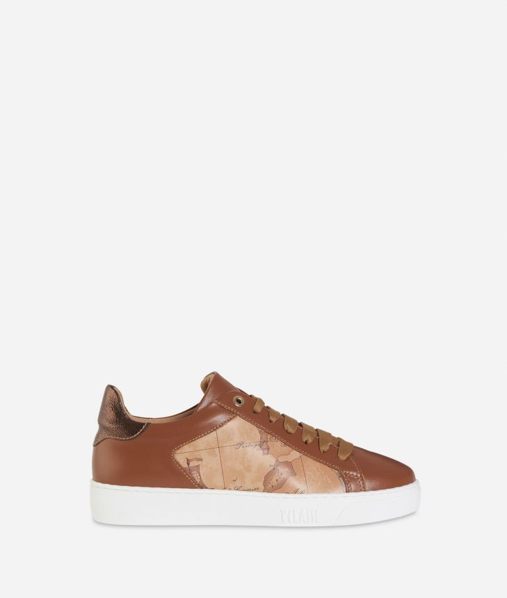 Geo Classic print and leather sneakers Dark Buff,front
