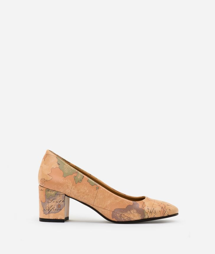 Geo Classic print pumps Natural Tan,front