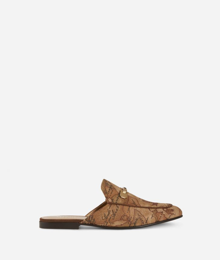 Geo Classic print loafers Bronze,front