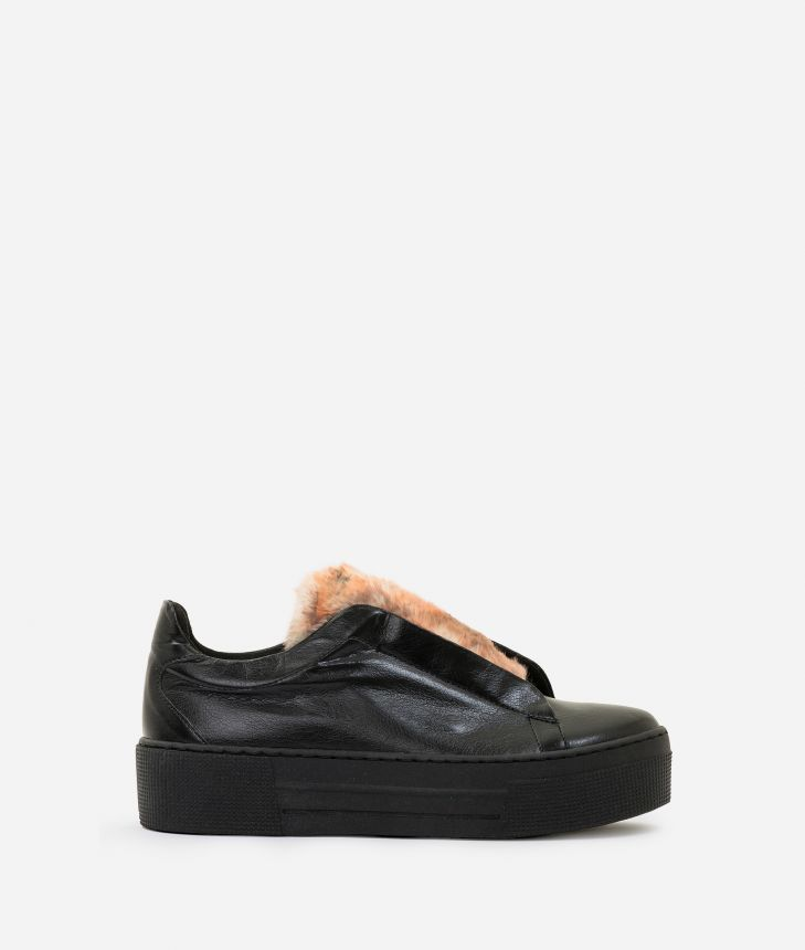 Eco-leather slip-on with eco-fur Black,front