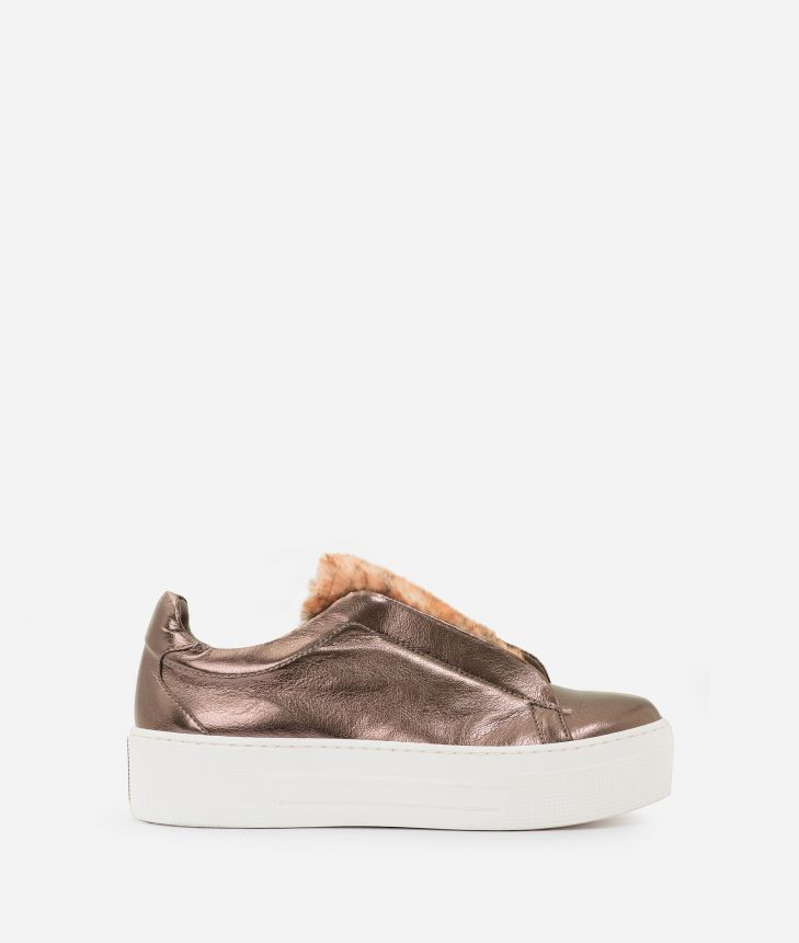 Eco-leather slip-on with eco-fur Dark Grey,front