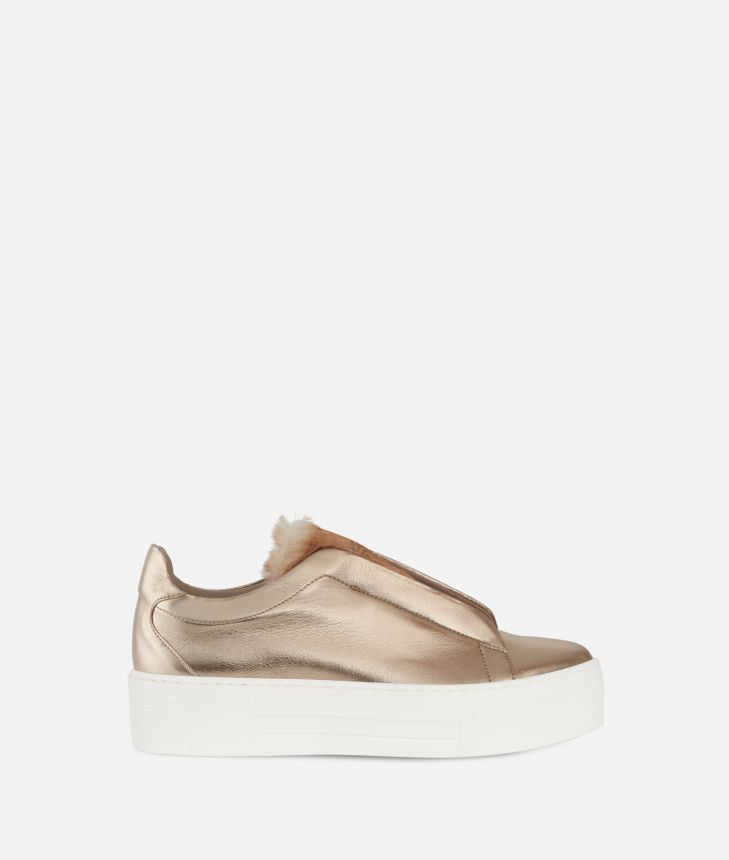 Eco-leather slip-on with eco-fur Nude,front