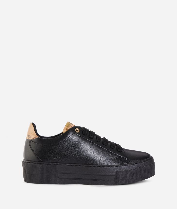 Eco-leather platform sneakers Black,front