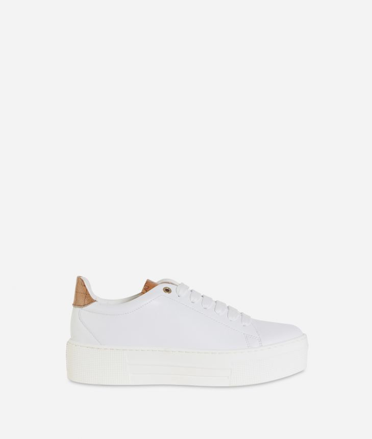 Eco-leather platform sneakers White,front