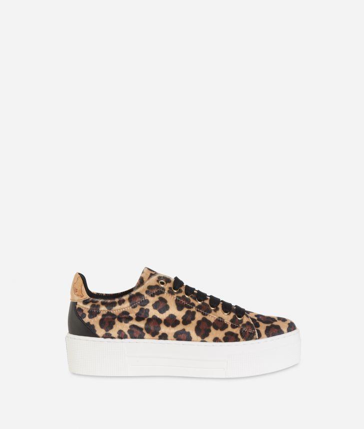 Animalier print platform sneakers Black,front
