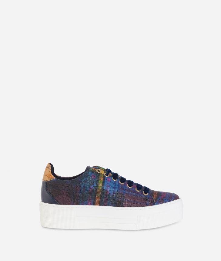 Geo Tartan print platform sneakers Multicolor,front