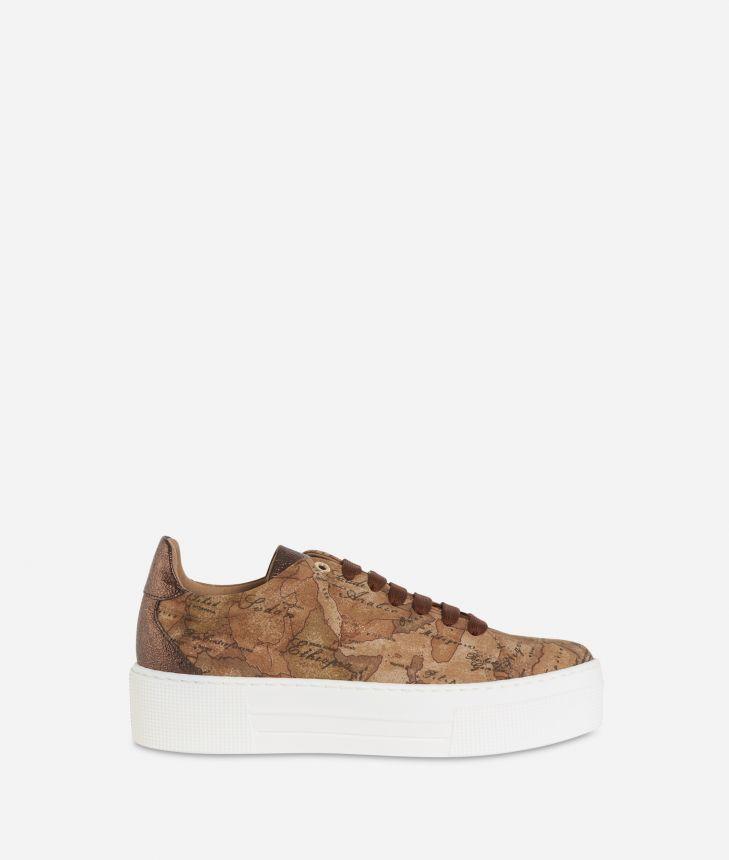 Geo Nabuk fabric platform sneakers Bronze,front