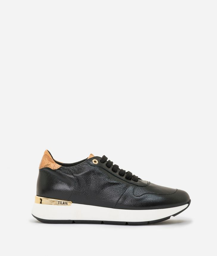 Laminated leather running sneakers Black,front