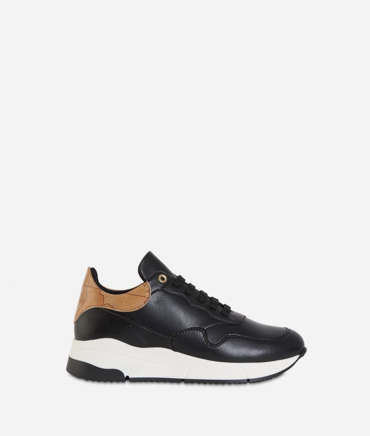 Eco-leather running sneakers Black,front