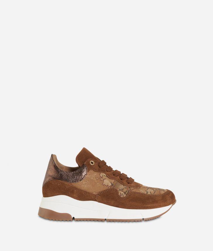 Geo Nabuk fabric running sneakers Bronze,front