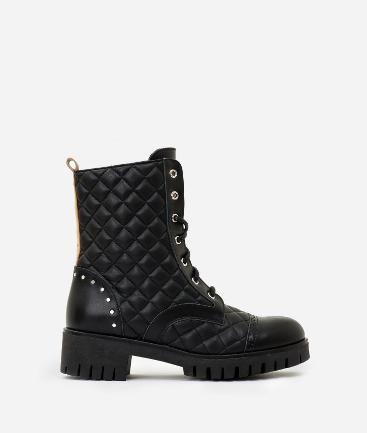 Matelassè eco-leather combat boots Black,front