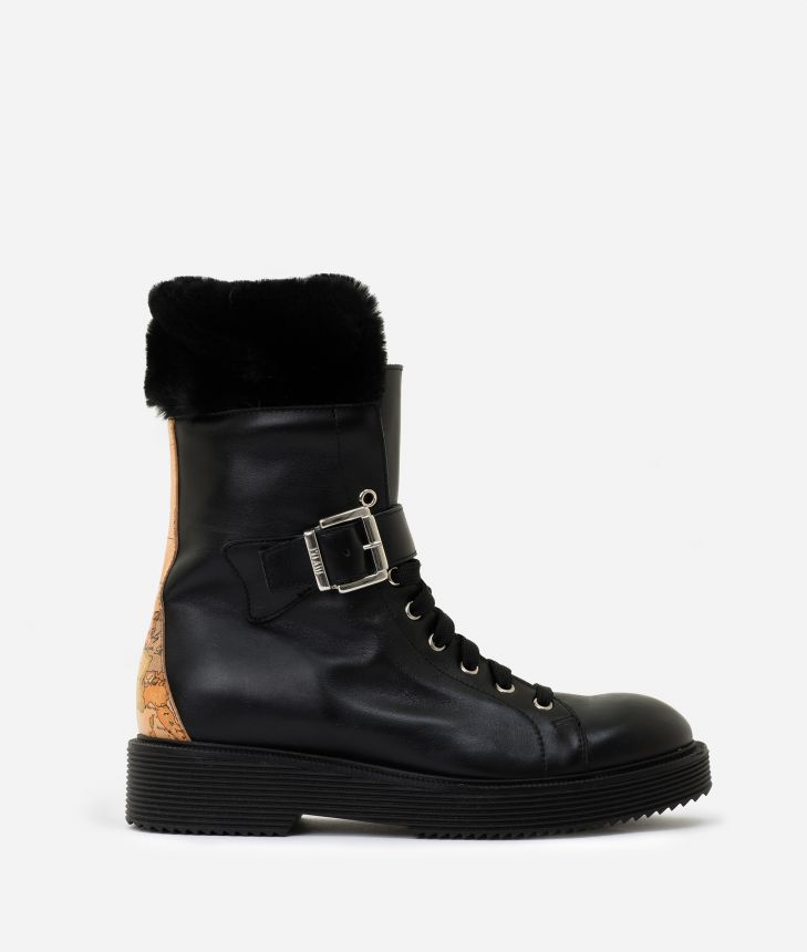 Leather combat boots with eco-fur Black,front