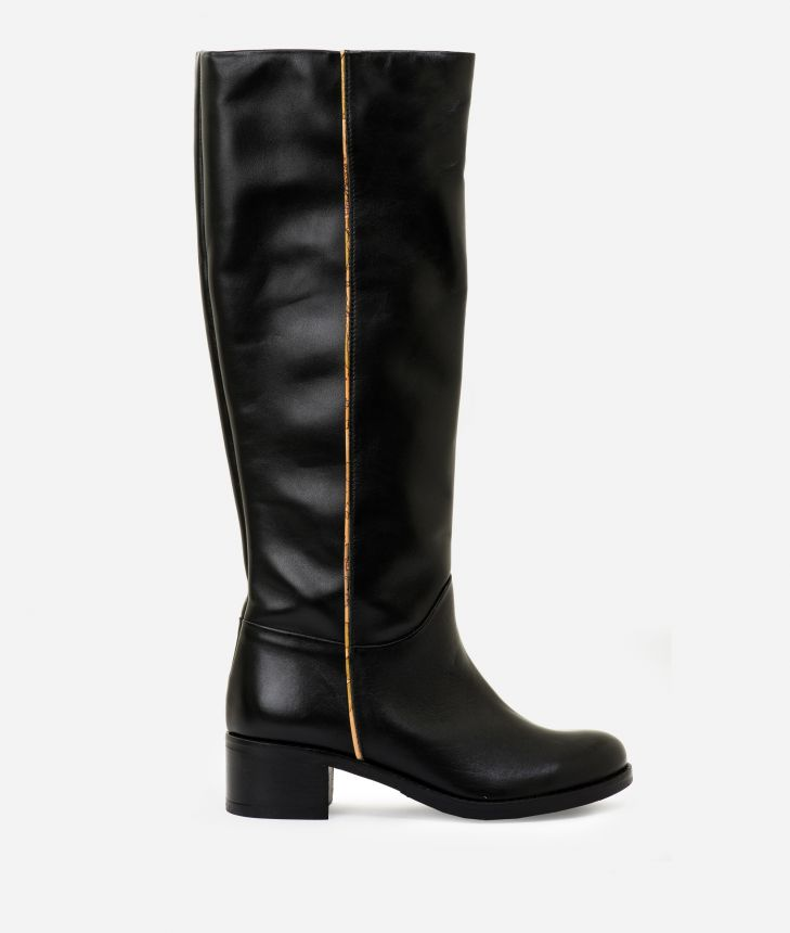 Leather riding boots Black,front