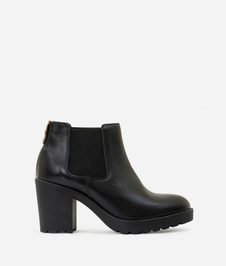 Leather ankle boots with elastic band Black,front