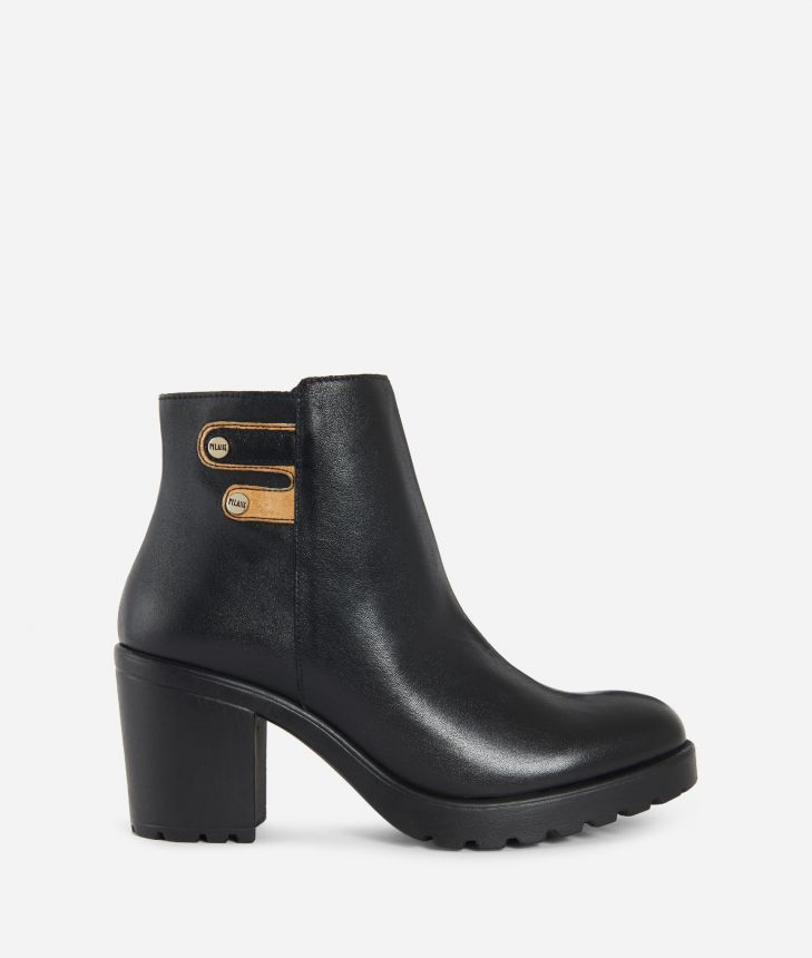 Leather ankle boots with buckles Black,front