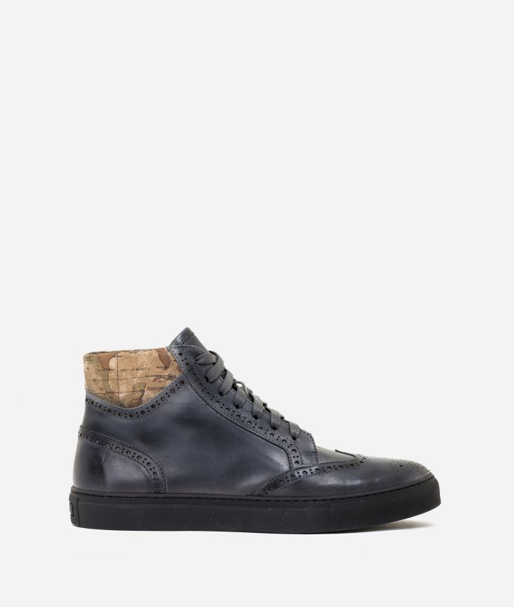 Nuanced leather sneakers Dark Grey,front