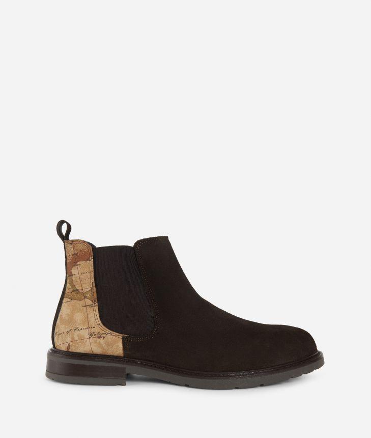 Suede leather beatles Dark Brown,front