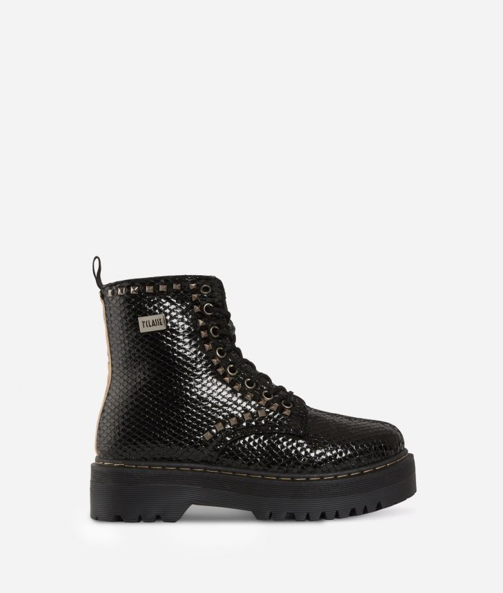 Eco-python leather combat boots with studs Black,front