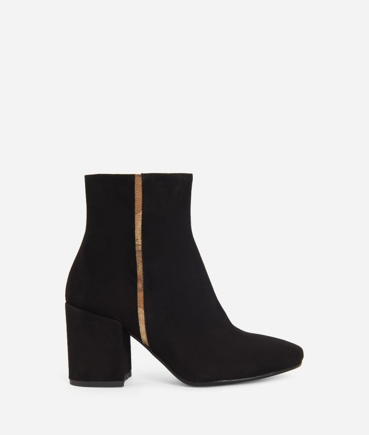 Suede leather ankle boots Black,front