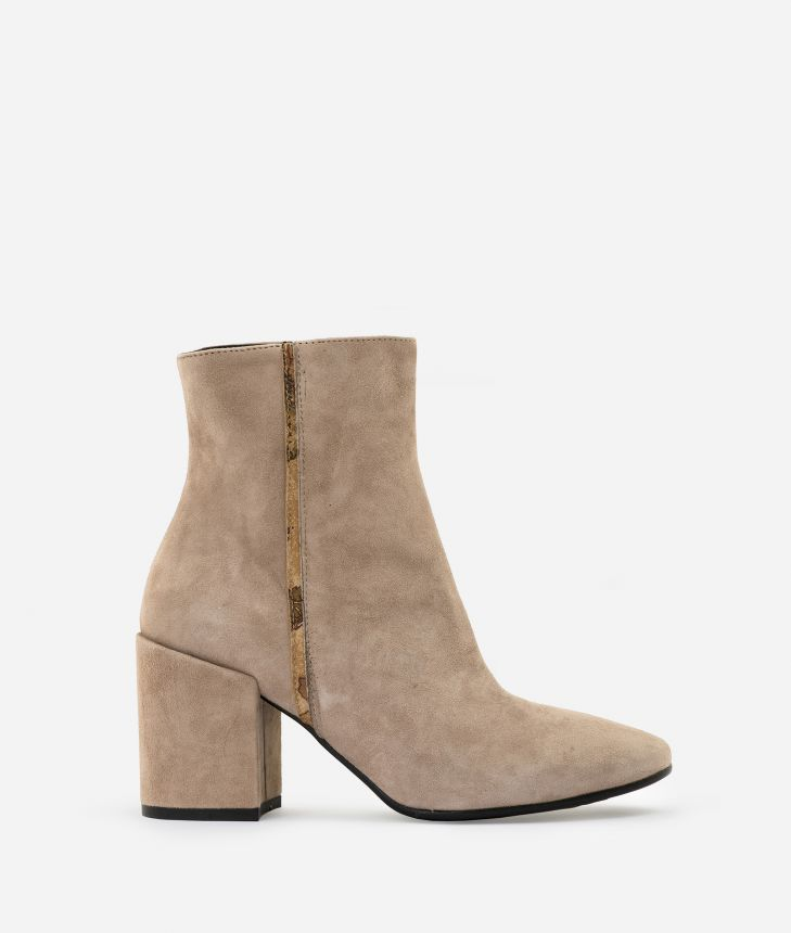 Suede leather ankle boots Nude,front