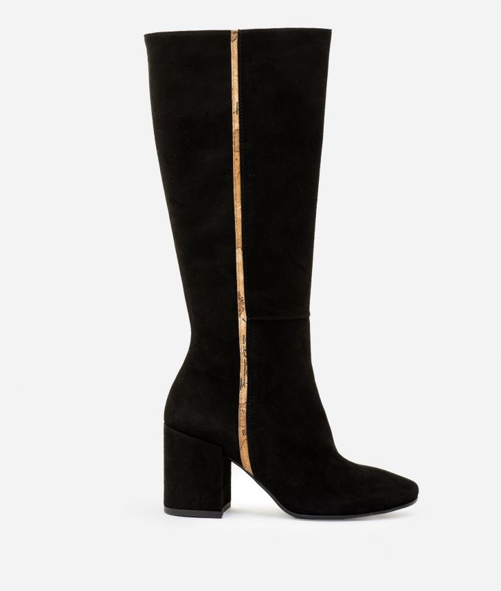 Suede leather high heel boots Black,front