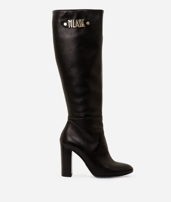 Leather boots with maxi logo Black,front