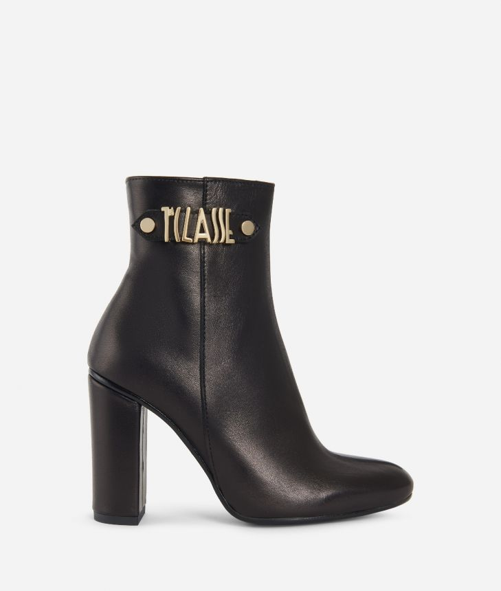 Leather ankle boots with maxi logo Black,front