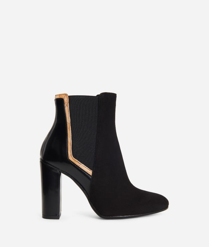 Leather and suede ankle boots Black,front
