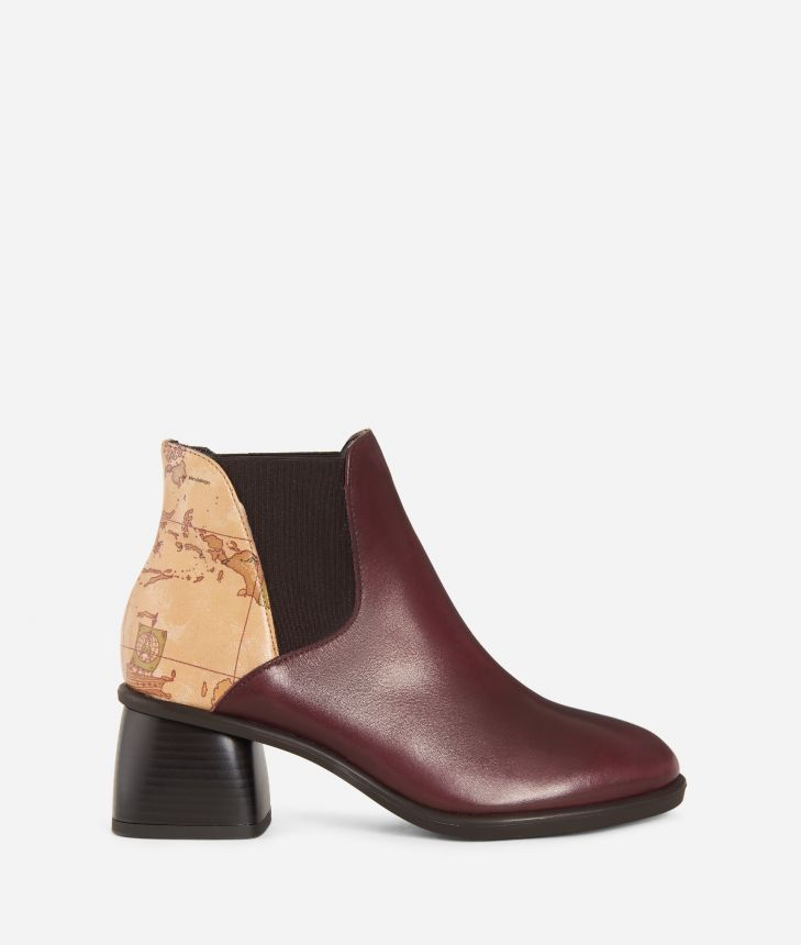Leather ankle boots with sculpted heel Bordeaux,front
