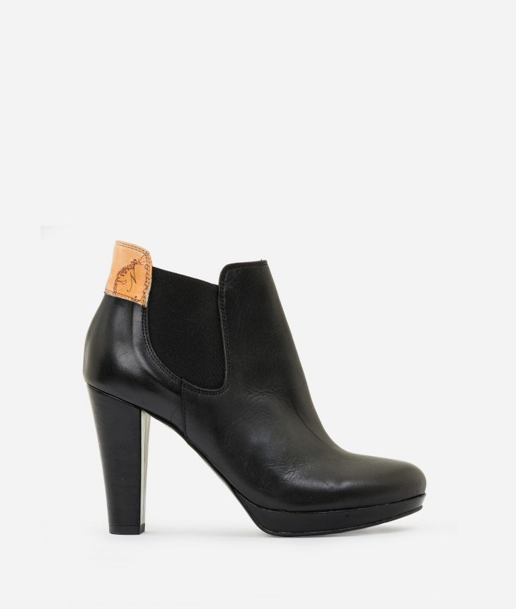 Leather ankle boots with platform Black,front