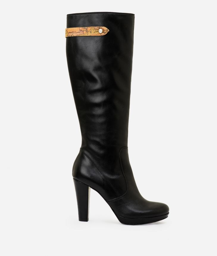 Leather high heel boots Black,front