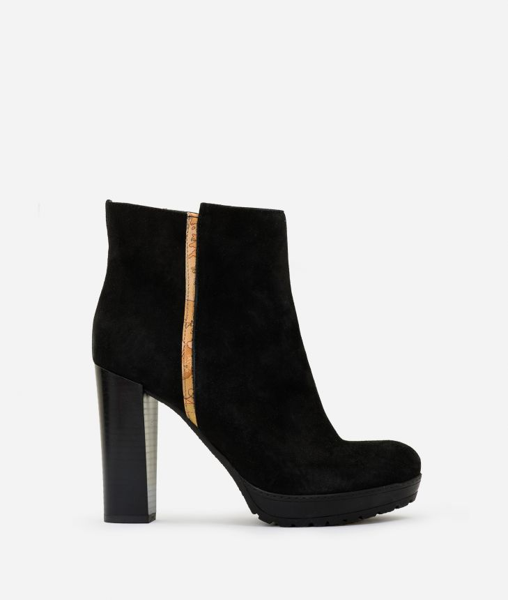 Suede leather high heel ankle boots Black,front