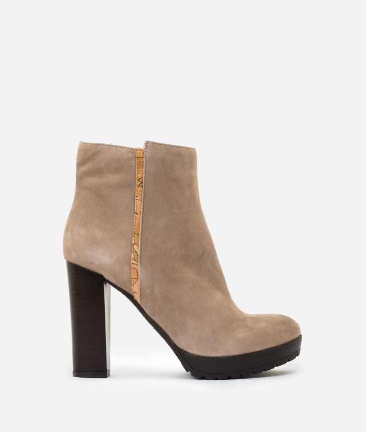 Suede leather high heel ankle boots Nude,front