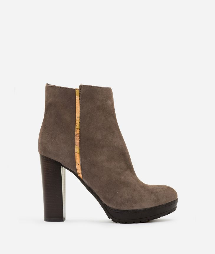 Suede leather high heel ankle boots Mud,front
