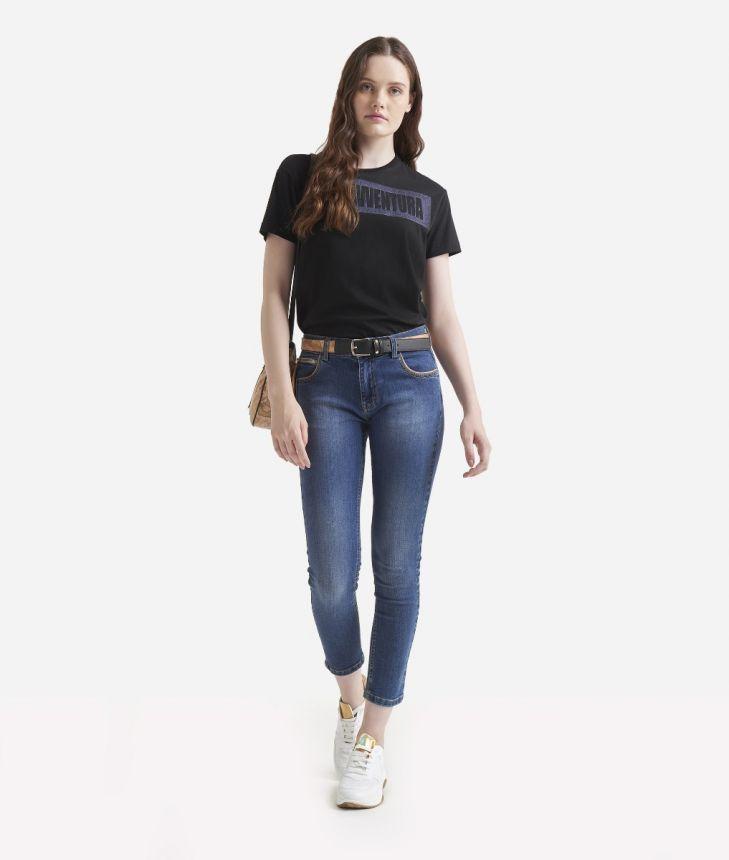 Cotton denim pants with zip Black,front