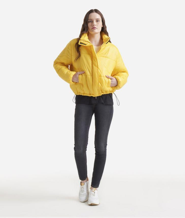 Oversize padded nylon jacket Yellow,front