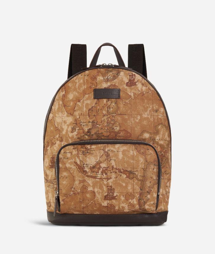 Geo Classic print fabric big backpack,front