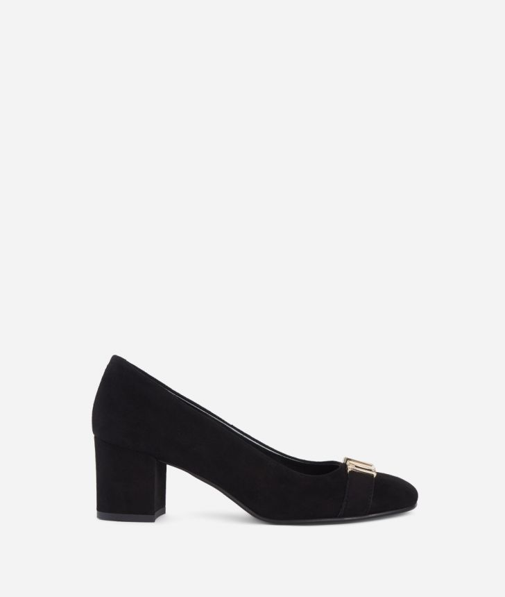Leather pumps with maxi logo Black,front