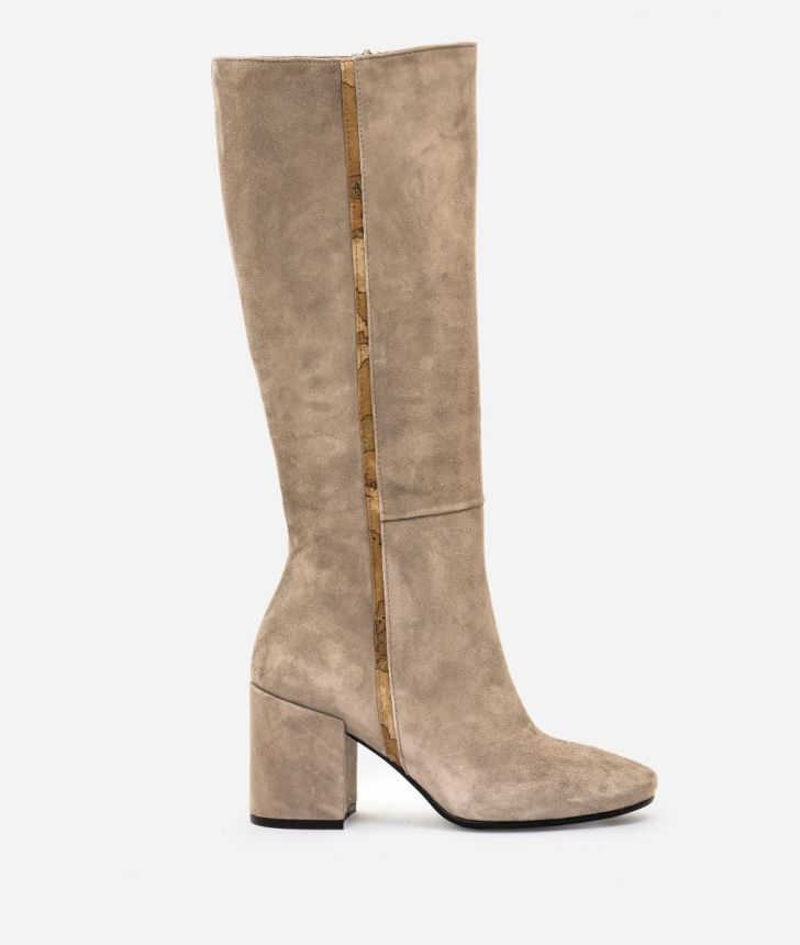 Suede leather high heel boots Nude,front
