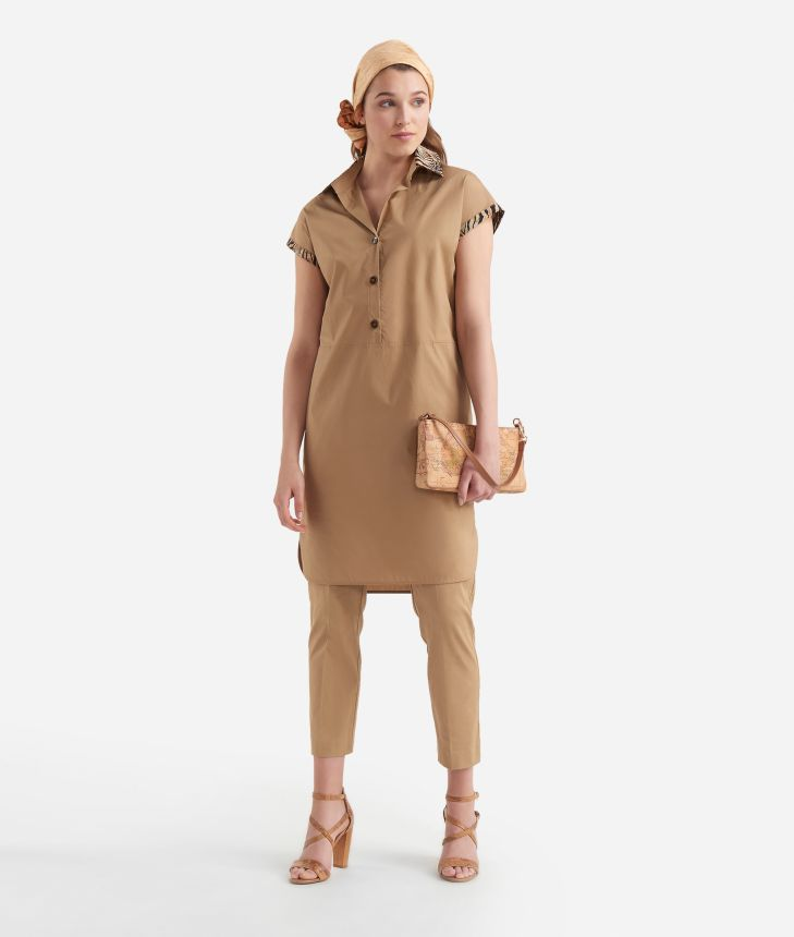 Chemisier dress in cotton Beige,front