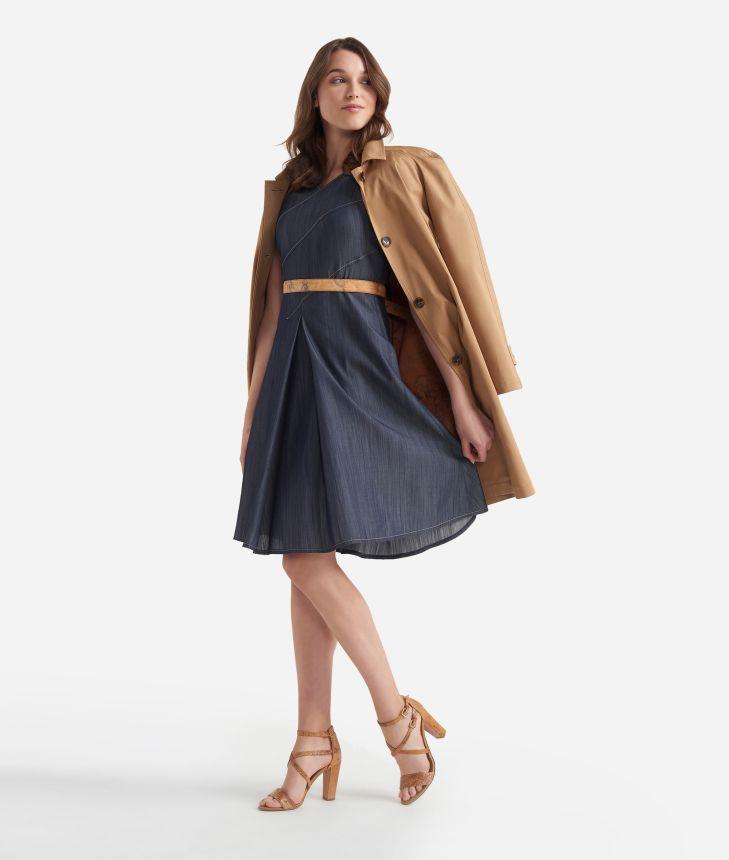 Chambray dress Dark Blue,front