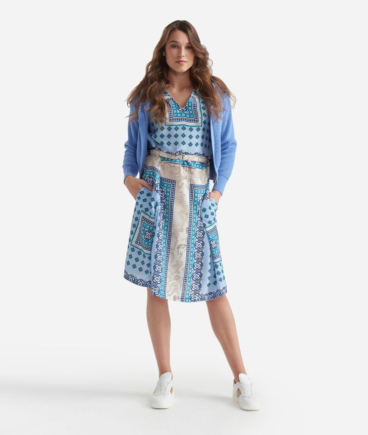 Tunic dress in twill with Mosaic print Light Blue,front