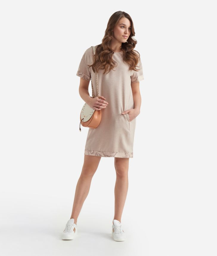 A-line dress in shantung Beige,front