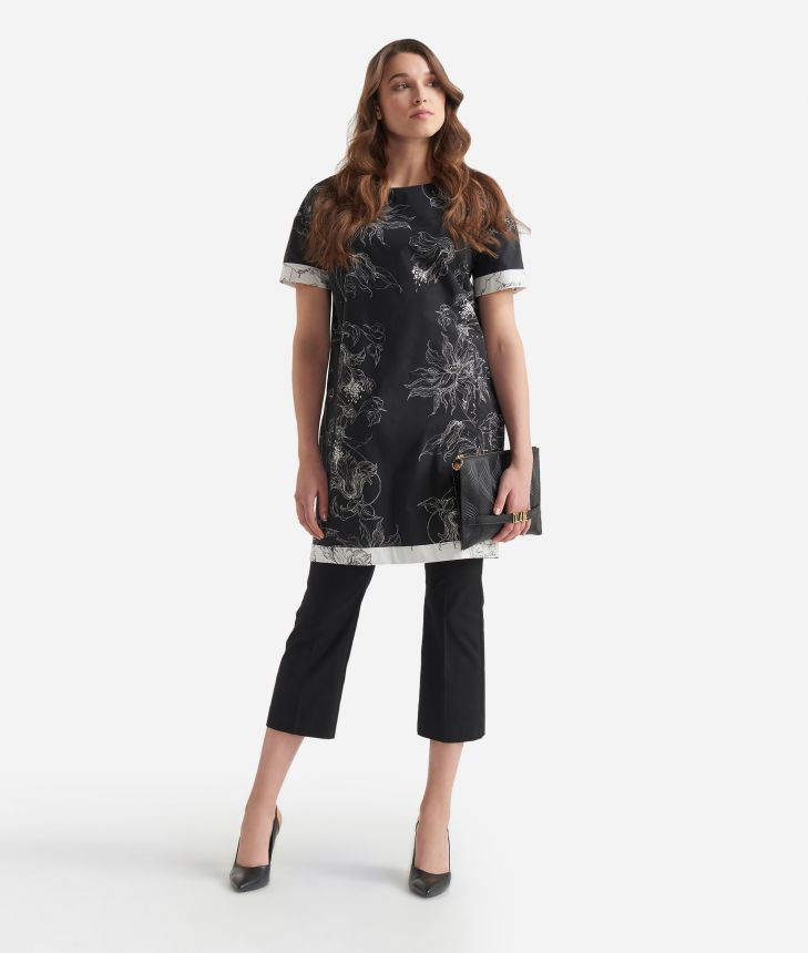 Floral print dress in popeline cotton Black and White,front