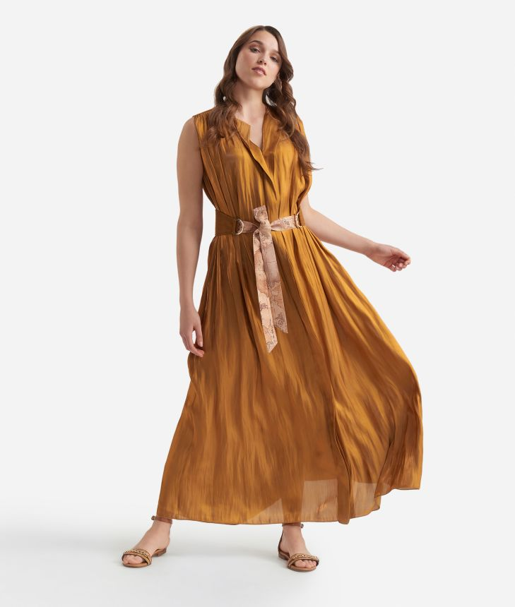 Long dress with belt in smooth iridescent fabric Bronze,front