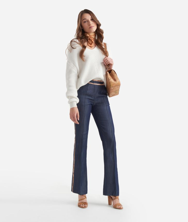 Chambray pants with Geo Classic print details Blue,front