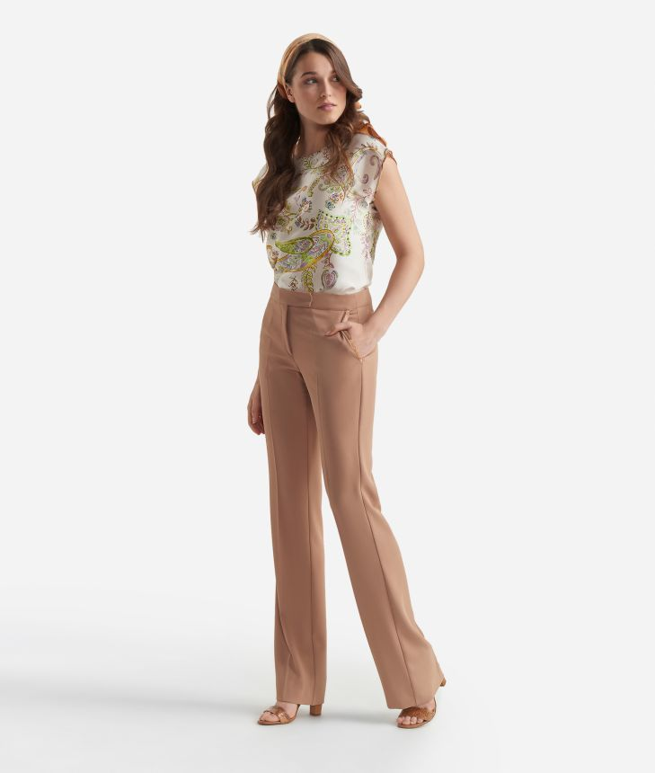 Flared pants in smooth fabric Beige,front
